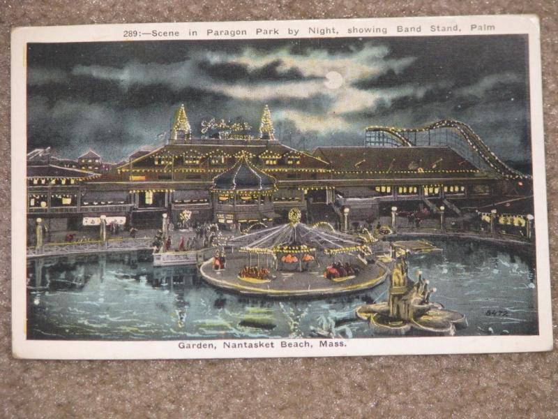 Scene in Paragon Park by Night,  Nantasket Beach, Mass., unused vintage card