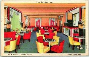 St. Louis MO Postcard NEW HOTEL JEFFERSON The Rendezvous Bar Lounge Linen 1944