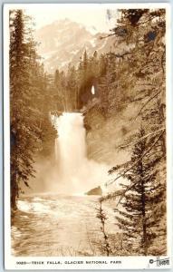 Glacier National Park Montana RPPC Postcard TRICK FALLS Hileman Photo 1934
