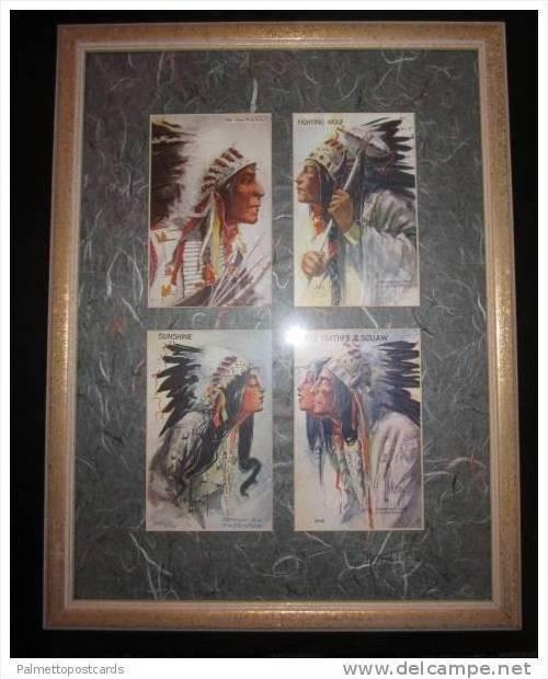 Framed & Matted Set of 4 PCs: Indian Chiefs & Women in Full Feather Headdress...