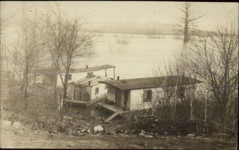 House Boats Flood Scene? Interesting Unidentified Image Real Photo Postcard
