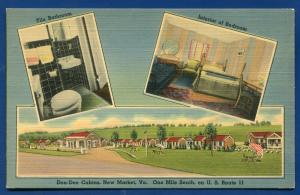 Don Dee Cabins New Market Virginia va old linen postcard #1