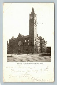 Indianapolis IN Indiana, Union Depot, Vintage c1906 Postcard