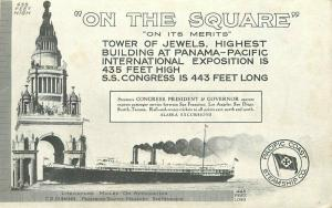 1915 PPIE Expo San Francisco Tower Jewel Pacific Coast Steamship Advert Postcard