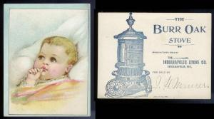 VICTORIAN TRADE CARD Baby Girl - Burr Oak Stove