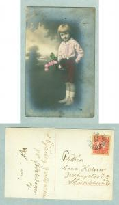 Sweden.1926. Congratulation. Girl with Flowers. Postal Used