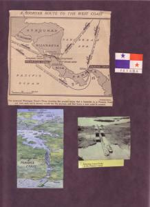 (2) Maps, (1) Clipping Of Central America and The Panama Canal 1934