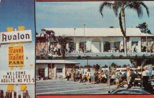 AVALON TRAVEL TRAILER PARK Hwy 19 Shuffleboard Clearwater, FL ca 1960s Postcard