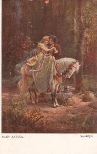 Hans Zatzka. Idyl in the woods. Horse Fine painting, antiue German postcard