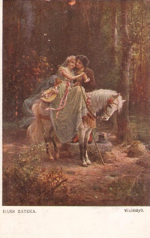 Hans Zatzka. Idyl in the woods. Horse Fine painting, antiue German postcard