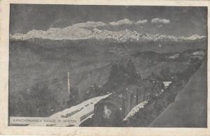 NEPAL, PU-1955; Kanchenjanga Range in Winter, Train on Tracks