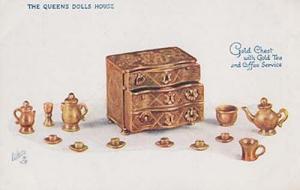 Queens Dollhouse Dolls House London Gold Treasure Chest  Postcard