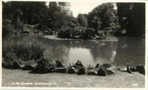 new zealand, CHRISTCHURCH, In the Gardens (1950s) RPPC