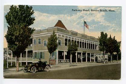 Revere Beach Ma Parkway Hotel Moxie Sign Coca Cola Postcard
