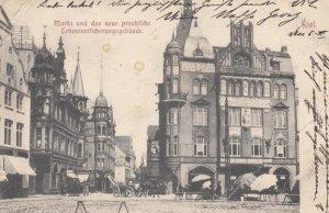 KIEL , Germany, 1904 ; Markt und das neue preus\kirche Lebensverlicherungsgeb...