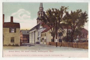 P778 old card school street scene old south church newburyport mass