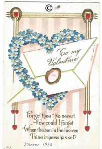 Vintage Valentine's Day Postcard Forget Me Not made into Heart with Letter Heart