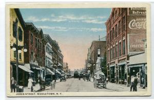 James Street Middletown New York 1920c postcard