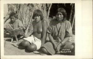 Paraguay Native Indian Woman Nude Chulupies Nivacl' Real Photo Postcard