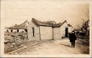 Omaha NE~Little Washtub on Pile of Rubble~Decatur St After Tornado~1913 RPPC