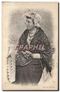 Old Postcard Folklore Lace Dentelliere Le Puy