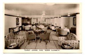 Cunard Line - RMS Queen Elizabeth,  Tourist Lounge   *RPPC