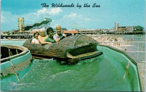 Hunt's Pier Flume Ride The Wildwoods By The Sea NJ New Jersey Postcard F2
