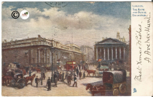 London The Bank and Royal Exchange Street Scene Raphael Tuck & Sons Oilette