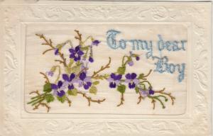 Hand Sewn, 1900-10s; To my dear Boy, purple flowers