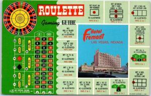 1960s Las Vegas NV Postcard HOTEL FREMONT Casino ROULETTE Gaming Guide Unused