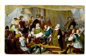 Mayflower, Departure of Pilgrims, Reichner Bros 1110, Made in Germany