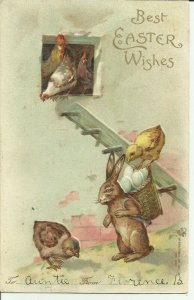 Best Easter Wishes Rabbit with Chicks
