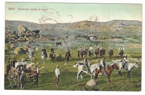 Cowboys Ready to Start. Vintage Adolph Selige postcard, c. 1910. Western theme