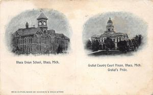 Ithaca Michigan~Union School Building & Gratiot County Courthouse~c1910 Postcard