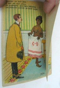 MECHANICAL COMIC ANTIQUE POSTCARD - risque BLACK BEAUTY GIRL