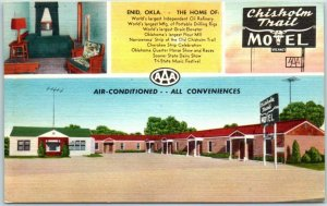 Enid, Oklahoma Postcard CHISHOLM TRAIL MOTEL Highway 81 Roadside Linen c1950s