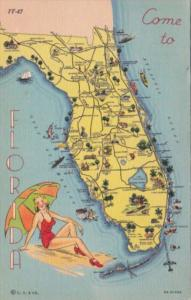 Greetings From Florida With Map 1939 Curteich