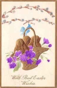 PFB Easter~Gold Chicks in Wicker Basket~Pussy Willows~Violets~Emboss Airbrush