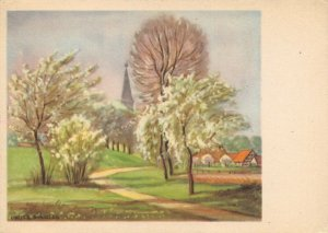 Rare 1949 Vintage Art Postcard, Spring in Germany by Fritz Preiss AT9