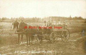 ME, East Sullivan, Maine, RPPC, EC Hanna Grocery Horse Drawn Advertising Wagon