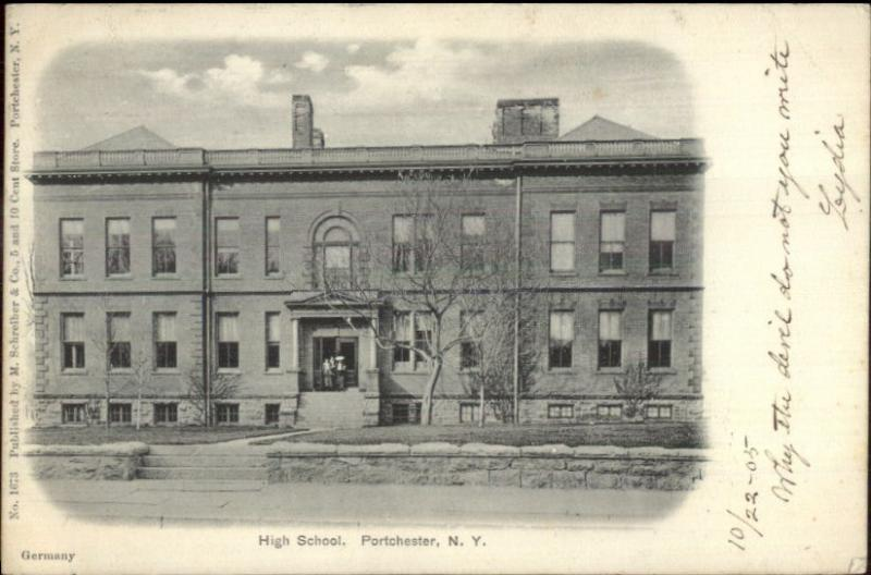 Port Chester NY High School c1910 Postcard