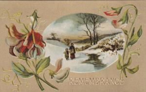 Mother and child out in a snowy field, flowers, gold background, 00-10s