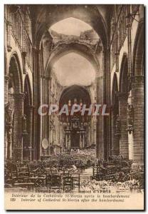 Belgium Ypres Belgie Old Postcard Ruins of St Martin cathedral after the bomb...