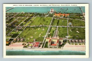 Palm Beach FL, Aerial View, Breakers Casino, Whitehall Vintage Florida Postcard