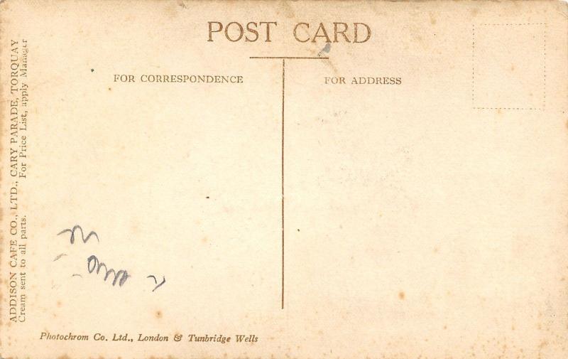 Torquay Devon~Addison Cafe~Royal Creamery~Devonshire Cream~Vintage Car~1910 PC