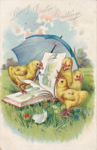 TUCK #111, Loving Easter Greetings, Chicks under blue umbrella pecking at boo...