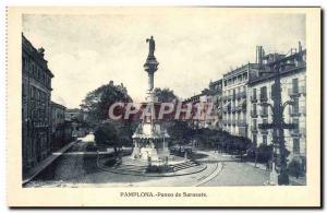 Old Postcard Pamplona Paseo de Sarasate