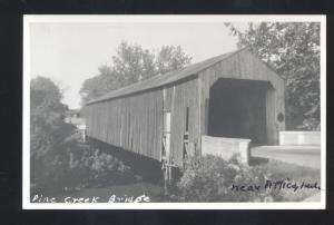 RPPC ATTICA INDIANA PINE CREEK COVERED BRIDGE VINTAGE REAL PHOTO POSTCARD