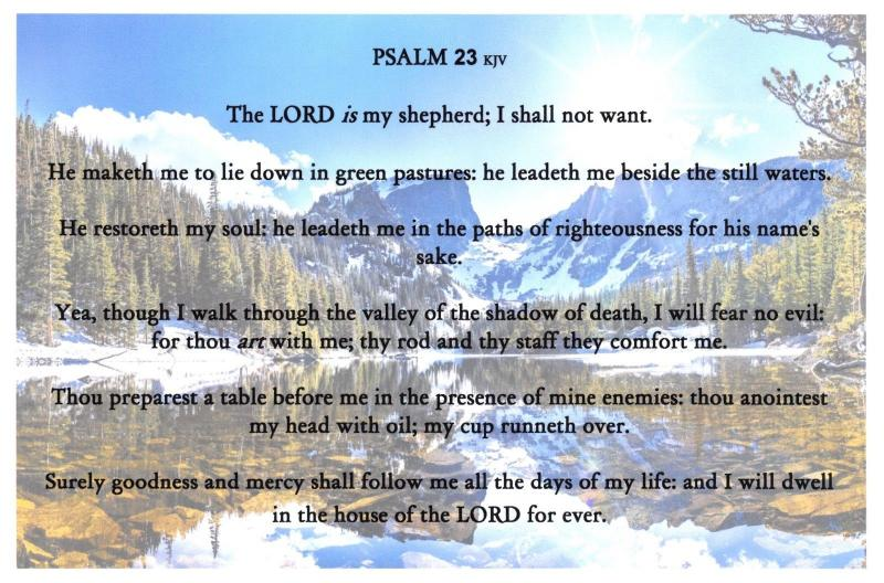 The Holy Bible Verse Text Postcard, PSALM 23 The Lord is My Shepherd 45C