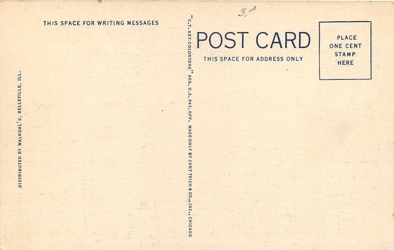 Belleville Illiinois~Christian Science Church~Brick Facade~Octagon~1938 Postcard